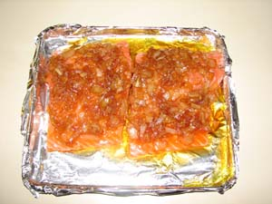 Candied Salmon - Add onions on top of Salmon