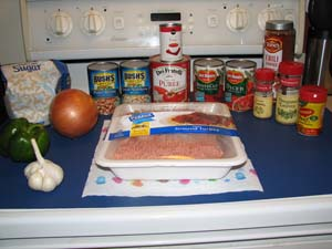 Texas Chili ingredients
