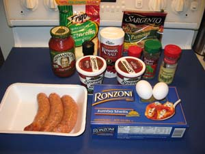Sausage Stuffed Shells - Ingredients
